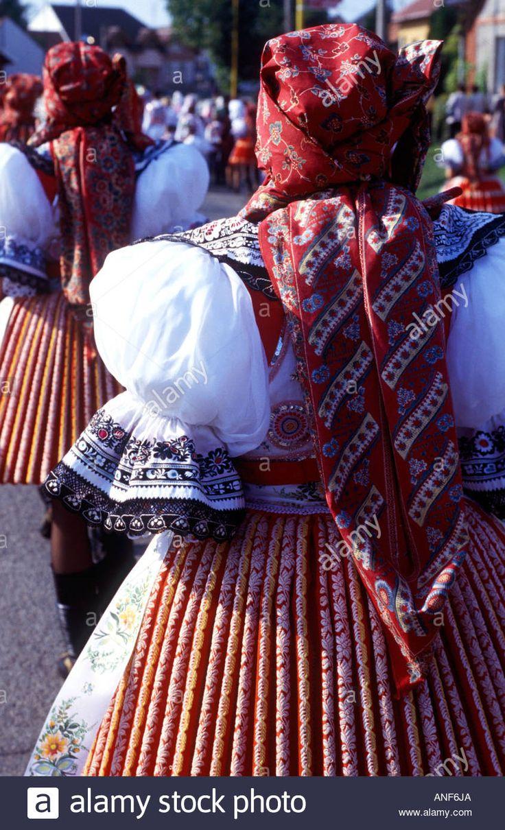Moravian Folk Costume In Feast Dubnany Czech Republic Stock Photo ...