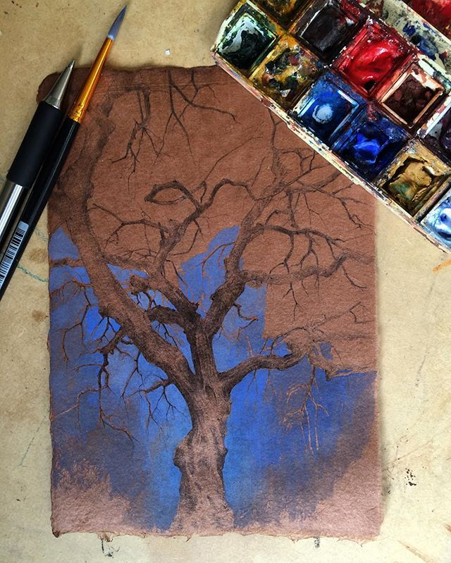 Beginning another #secretlifeoftrees drawing, ballpoint pen and #watercolor on brown paper                                                                                                                                                      More
