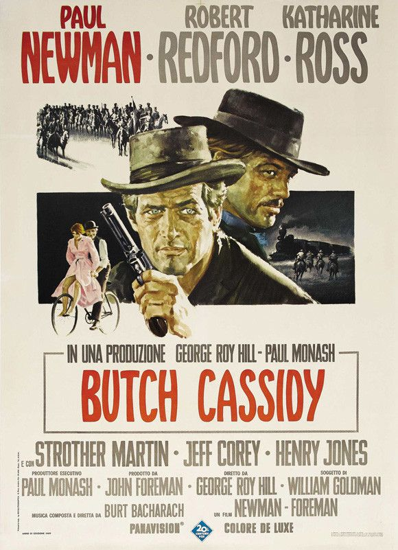 CAST: Paul Newman, Robert Redford, Katharine Ross, Jeff Corey, Strother Martin, Cloris Leachman, Kenneth Mars, Ted Cassidy, Henry Jones, George Furth, Sam Elliott; DIRECTED BY: George Roy Hill; PRODUC