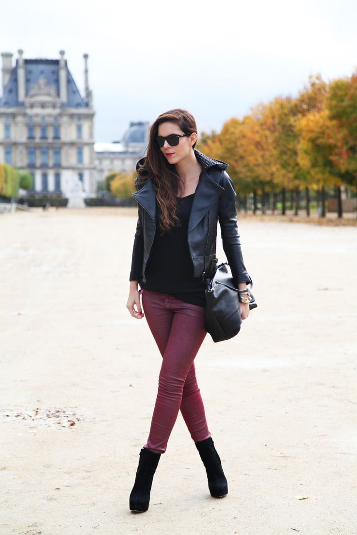 leather jacket, coated jeans, black booties, black leather carryall