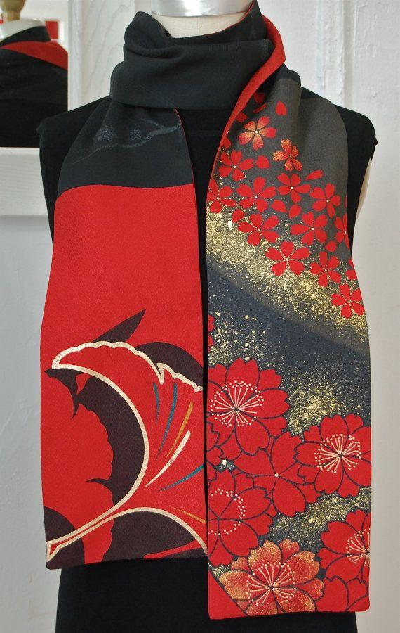 Amazing Japanese vintage kimono versatile silk scarf, Yuzen fabric in Kyoto