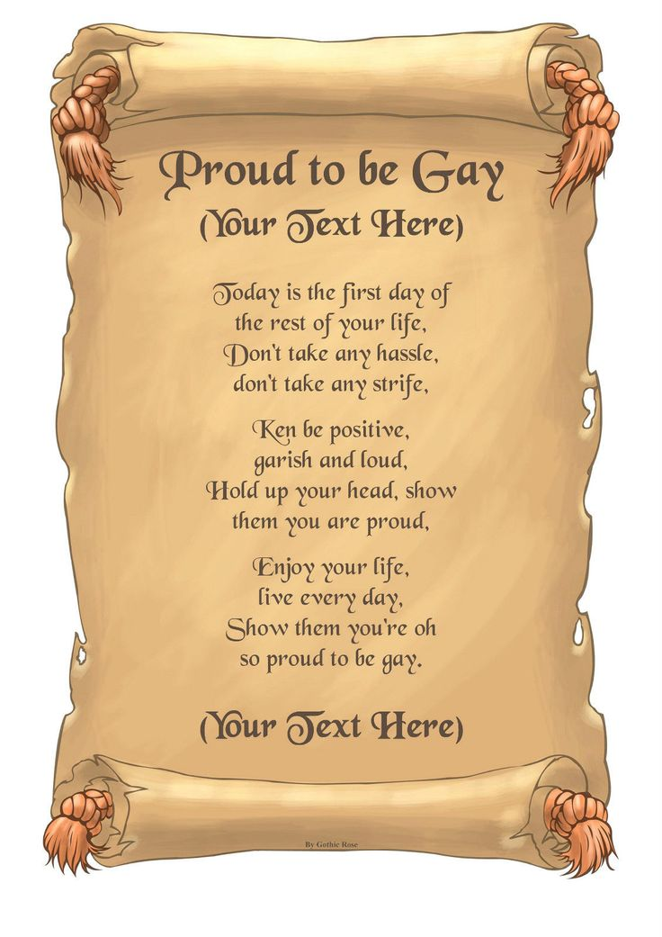 "Personalised A4 / A5 ""Proud To Be Gay "" Poem Scroll Gift Various Designs"