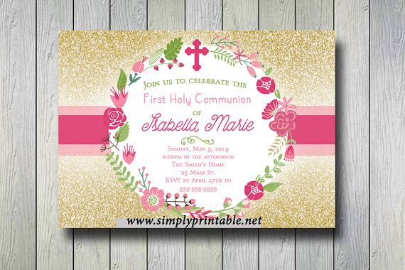 Gold Pink Baptism/Communion Digital Invitation by simplyprintable