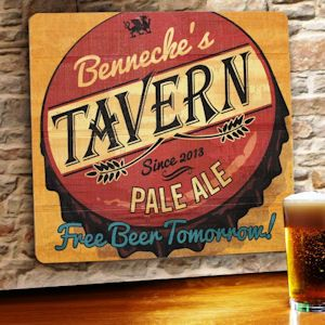 Free Beer Tomorrow Personalized Wood Tavern & Bar Sign (JDS Engravables gc1067freebeertomorrow) | Buy at Wedding Favors Unlimited (http://www.weddingfavorsunlimited.com/free_beer_tomorrow_personalized_wood_tavern_and_bar_sign.html).
