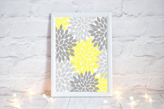 YELLOW GRAY Flower Wall Art Bedroom Pictures CANVAS by TRMdesign