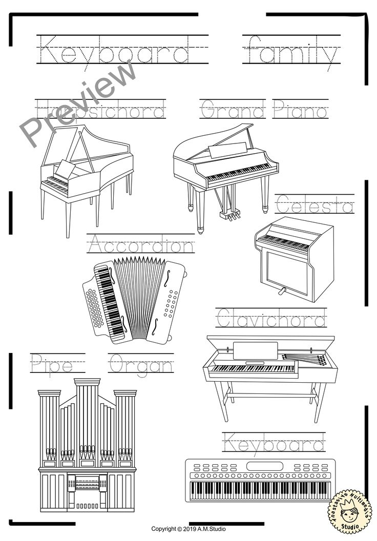 Instrument Families Coloring Pages Distance Learning