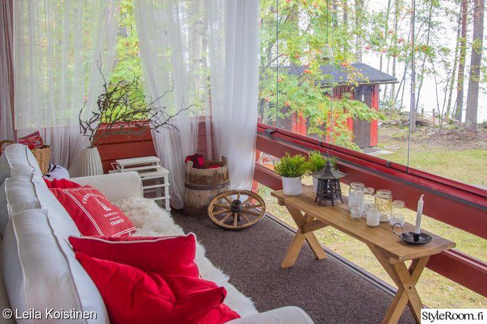 красный, диван, коттедж, патио, веранда