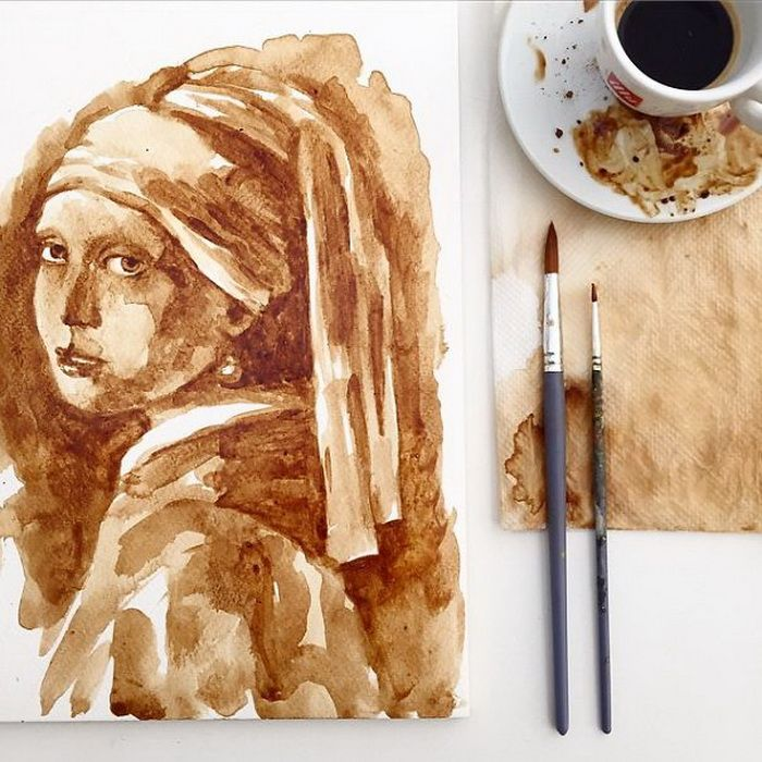 Марта любимой, рисунок с кофем