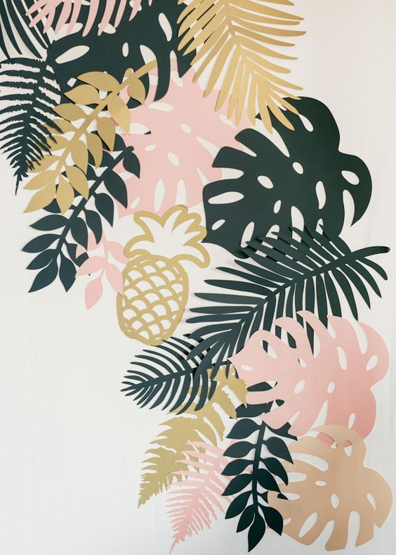 Paper Party 2015: Lasercut Paper Tropical Foliage Photobooth Backdrop by Alexis Mattox Designs / Photo by Charlie-Juliet Photography: