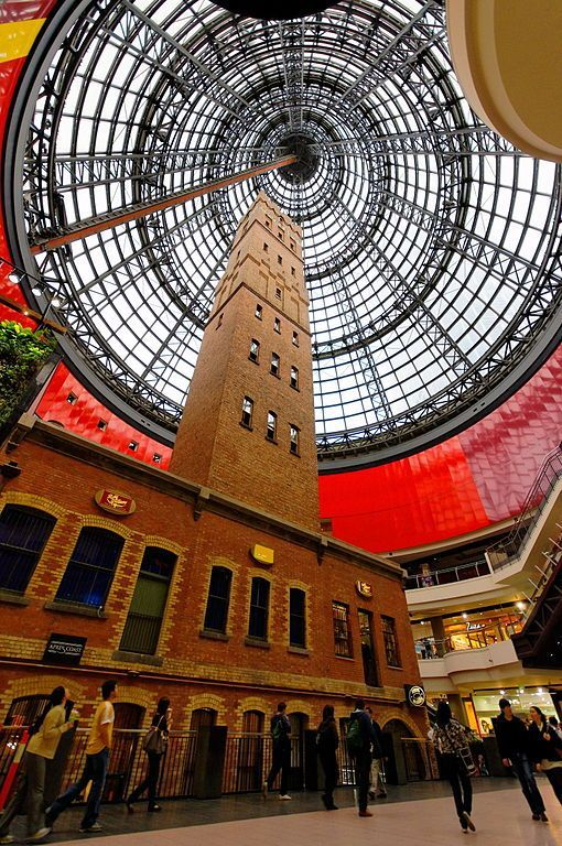 The Shot Tower in the Melbourne Central shopping complex. The Shot Tower is an old historical building originally on the site of the planned Melbourne Central shopping complex. It was saved & incorporated into the Melbourne Central shopping complex. With a domed skylight over it...