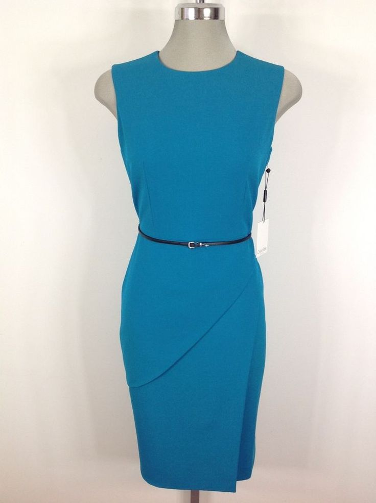 $39.99 Calvin Klein Elegant Lagoon Dress with tulip design skirt and belt