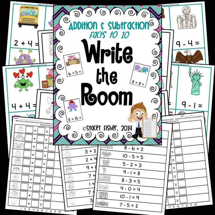 6 versions of Write the Room with addition and/or subtraction facts to 10