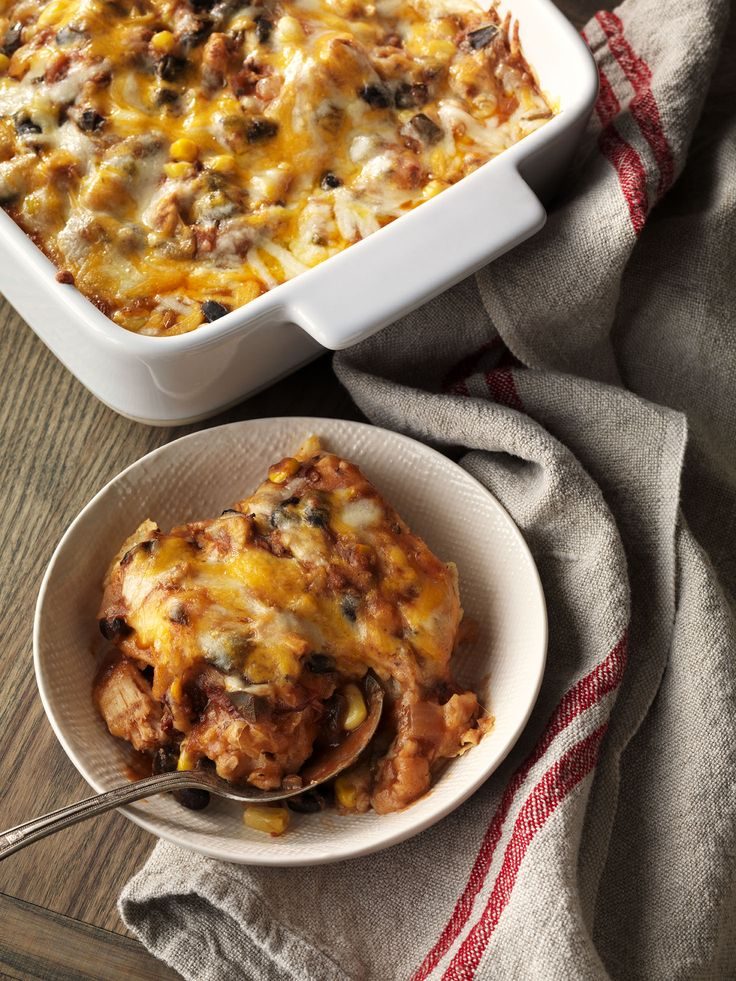 Easy Enchilada Casserole is a one-dish twist on enchiladas that is simple to make and simply delicious. Panera® Chicken Tortilla Soup adds home-cooked flavor to the filling, with a hint of chipotle for a smoky finish.