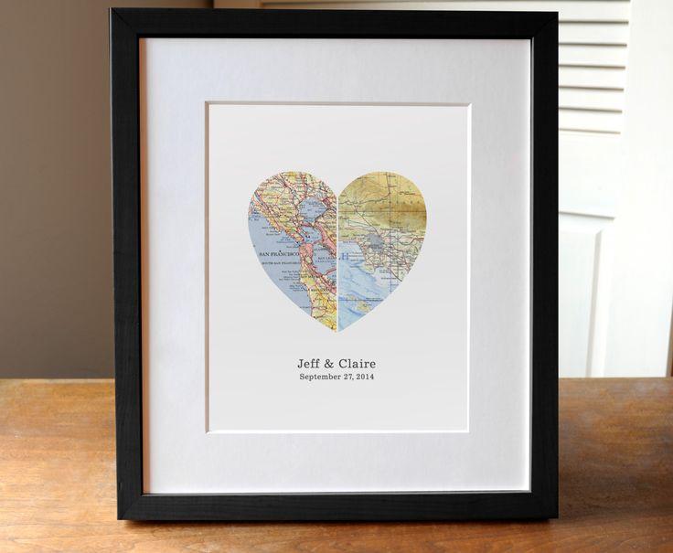 Regalo di nozze, la mappa del cuore, regalo per la coppia, regalo anniversario, regalo di fidanzamento - 1 ° anniversario di AGierDesign su Etsy https://www.etsy.com/it/listing/191925144/regalo-di-nozze-la-mappa-del-cuore