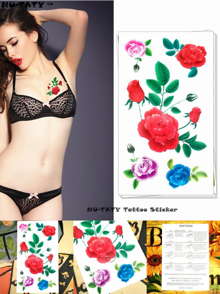 [Visit to Buy] Nu-TATY Bright red roses Temporary Tattoo Body Art Arm Flash Tattoo Stickers 17*10cm Waterproof Fake Henna Painless Tato Sticker #Advertisement