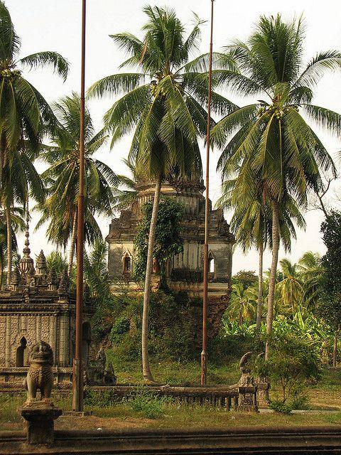 Khmer wat behind palm trees,  Battambang, Cambodia