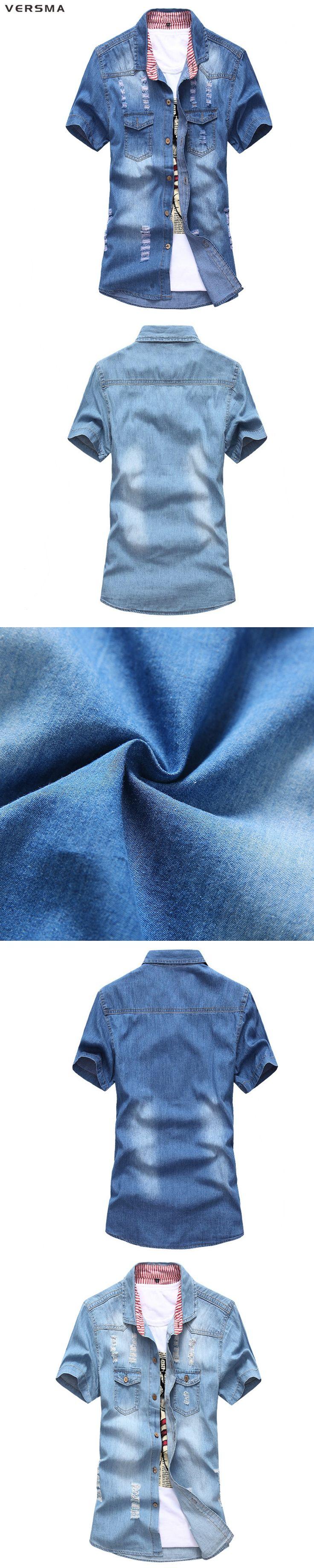 VERSMA 2017 Patchwork Short Sleeve Blue Cowboy Womens Mens Distressed Denim Shirt Men Slim Fit Ripped Cotton Denim Jeans Shirt