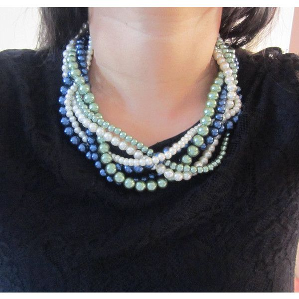 Multi Strand Necklace, Twisted Pearl Necklace, Statement Braided... ($38) ❤ liked on Polyvore featuring jewelry, necklaces, bridal necklace, navy necklace, chunky pearl necklace, green bib necklace and navy blue necklace