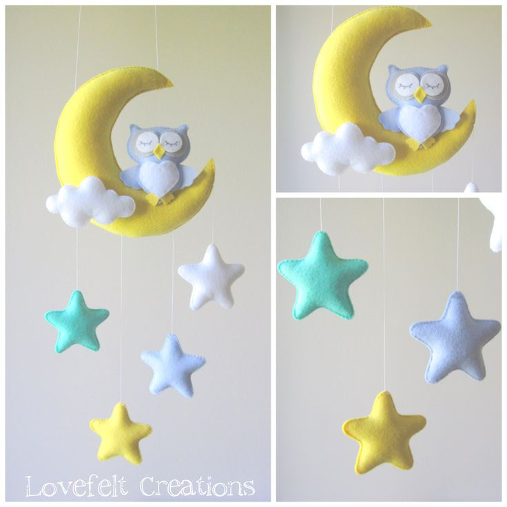 ♥ WELCOME TO LOVEFELT CREATIONS ♥ All my mobiles are made with much love, with a great amount of care and consideration invested in their design and production. DETAILS AND DIMENSIONS: ======================= Each plush element is created with felt, lightly filled with hypo-allergenic polyester stuffing. The moon measures 8x6.5 and enclosed there is a long string for ceiling hanging. (Please use a secured hook!) the stars 3x3. Owl 5x4.5. Overall installed size measures approximately 16-1...