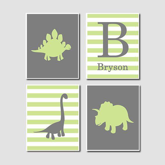 Dinosaur Silhouette Green Grey Gray Monogram Personalized Shape Boy Print Artwork Set of 4 Prints Wall Decor Art Crib Nursery Picture Nature