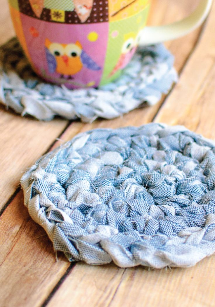 These cute crochet coasters are a quick-and-easy up-cycle DIY.