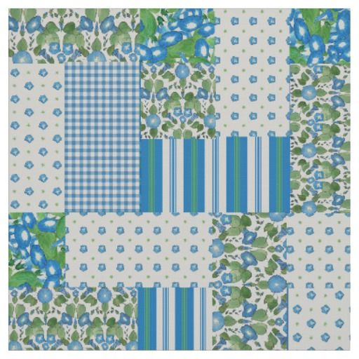 Blue Morning Glory Faux Patchwork Pattern Fabric: up to $27.95 per yard - http://www.zazzle.com/blue_morning_glory_faux_patchwork_pattern_fabric-256526159622970339?rf=238041988035411422&tc=pintw