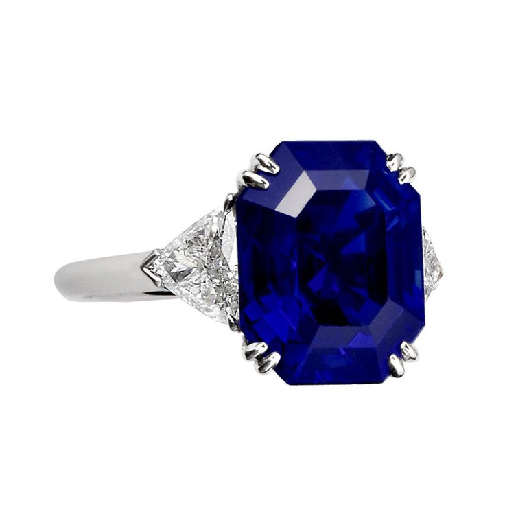 10.34 ct. Royal Blue No Heat Burma Sapphire Engagement Ring | From a unique collection of vintage engagement rings at http://www.1stdibs.com/jewelry/rings/engagement-rings/