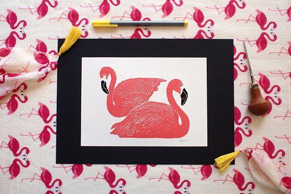Go Flamingo Go  Original Handprint