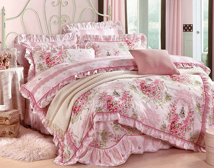 Pink Floral Romantic Country Cheap Comforter Sets For Girls