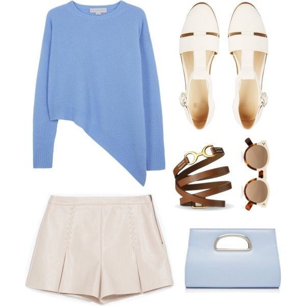 blue and beige 2 by hypeway on Polyvore featuring mode, STELLA McCARTNEY, Zara, ASOS, Forever New and Illesteva