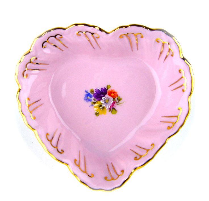 Vintage Miniature Plate Tray Pink Porcelain Czech Gold Flowers 14 Karat Heart
