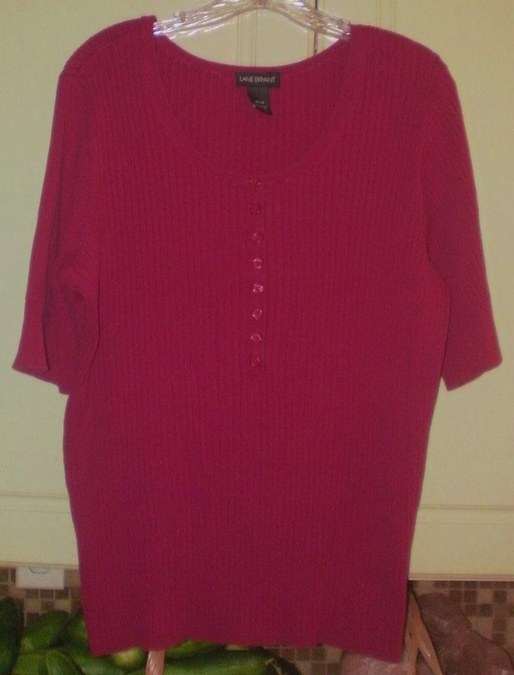 Lane Bryant Short Sleeve Ribbed Sweater~18/20~Scoop Neck~Fuschia Hot Pink Maroon | Clothing, Shoes & Accessories, Women's Clothing, Sweaters | eBay!