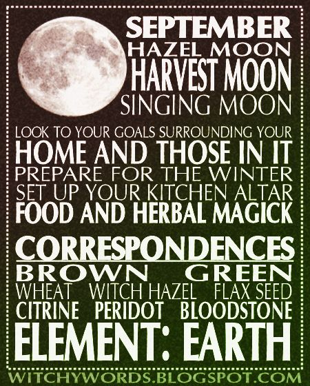Witchy Words: September: Harvest Moon full moon esbat correspondences and ritual. #moon #pagan #wicca