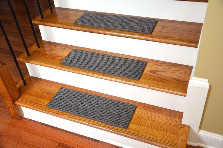 "Dean Indoor/Outdoor Pet Friendly Tape Free Non-Slip Carpet Stair Step Treads - Tybee Island Gray 23"" x 8"" (15) - Dean Stair Treads"