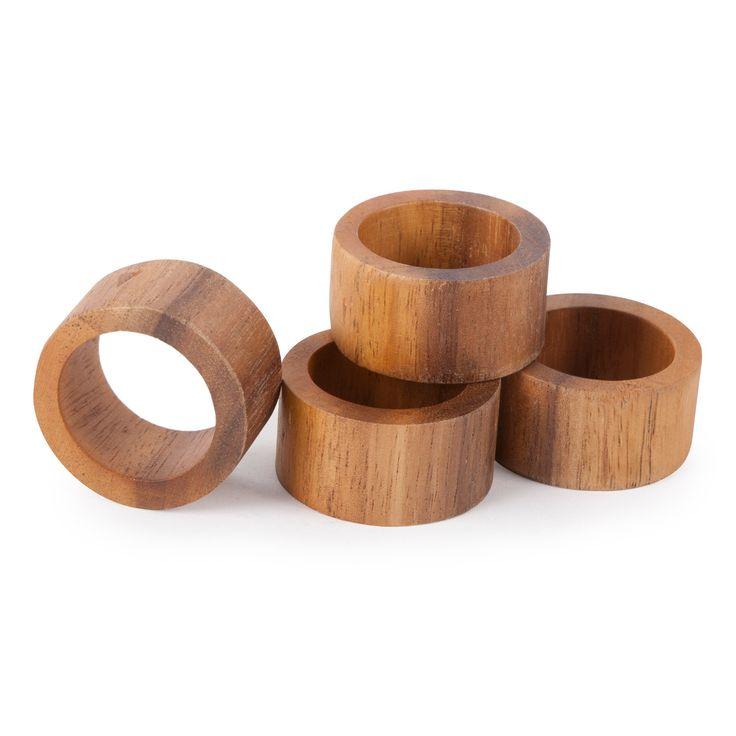 Core Bamboo Acacia Modern Napkin Ring