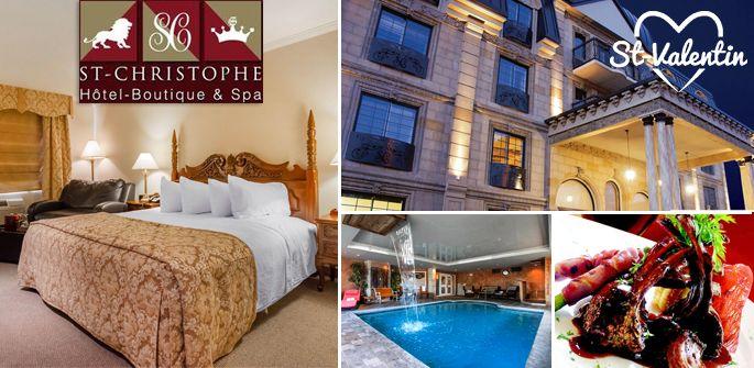 Forfait prestige au St-Christophe Hôtel-Boutique & Spa comprenant : une nuitée pour deux personnes, petit-déjeuner complet, souper 5 services, des soins de beauté et bien plus!