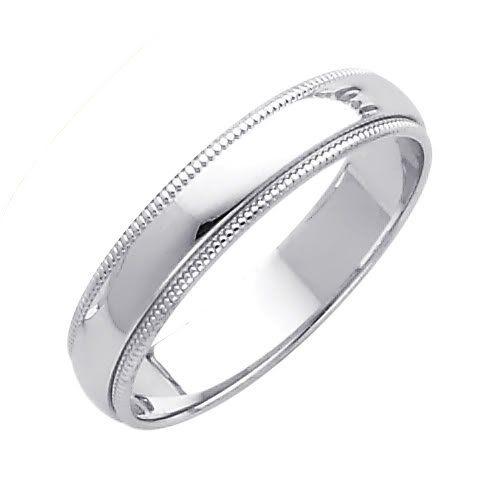 her ring amazoncom 14k white gold 4mm plain milgrain wedding band ring - Wedding Rings Amazon