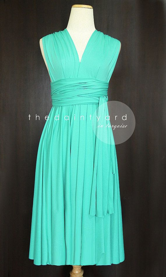 ===Kim, Shannon & Sherri=== Short Straight Hem Turquoise Bridesmaid by thedaintyard on Etsy  $34.00