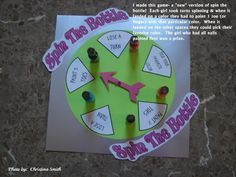 """Great slumber party ideas for girls. I like the """"spin the bottle"""" game. The girls have to paint a toe or fingernail in whatever color the spinner lands on."""