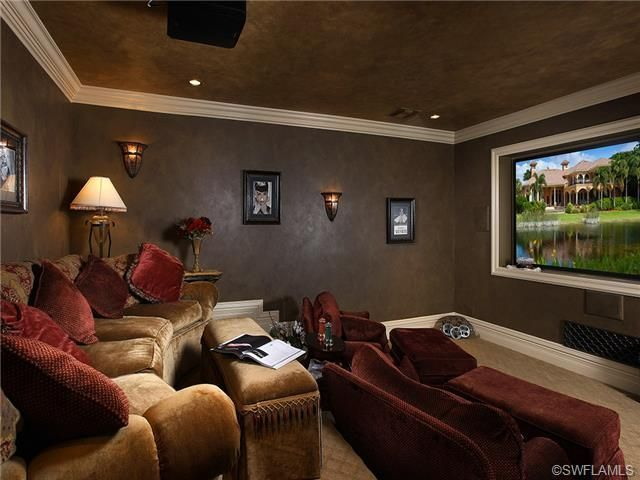 Posh home theater room. Love the two levels...pretty easy to build a stage up and put couches on each level.