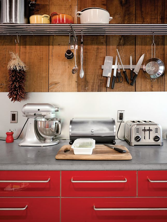 Kitchen shelving that enables hanging S hooksRed Kitchen, Kitchens Shelves, Kitchens Ideas, Kitchens Renovation, House, Modern Kitchens, Wood Wall, Red Cabinets, Contemporary Style