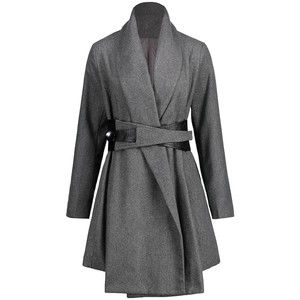 Turn Down Collar Belted Tunic Coat
