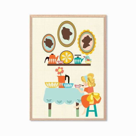 FAIRY TALE | Goldilocks and the Three Bears Poster : Cathrineholm Modern Illustration Children Retro Art Wall Decor Print by MayAndBazStore on Etsy https://www.etsy.com/listing/156237119/fairy-tale-goldilocks-and-the-three