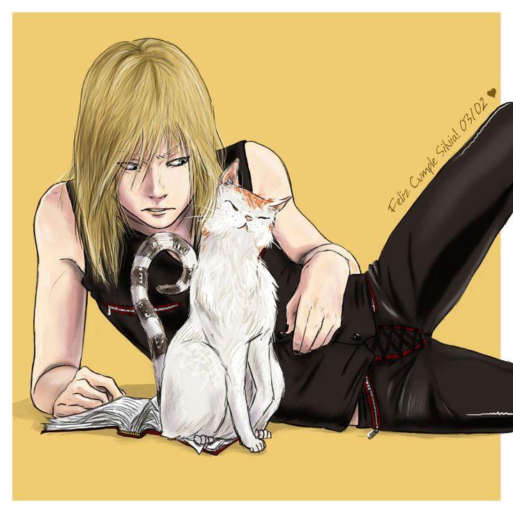 douche-matt: A૨ƬiઽƬ ~~ Mello and a cat   death note