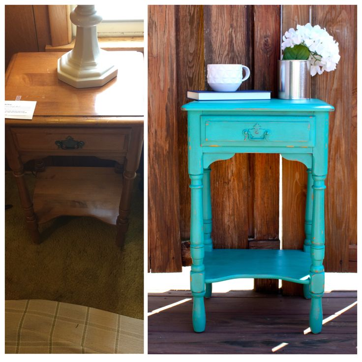 Shabby Chic, Turquoise, Distressed, Antique, Vintage, Night Stand/ End Table