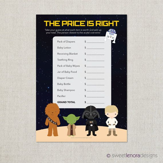 Star Wars Price Is Right Printable Baby By