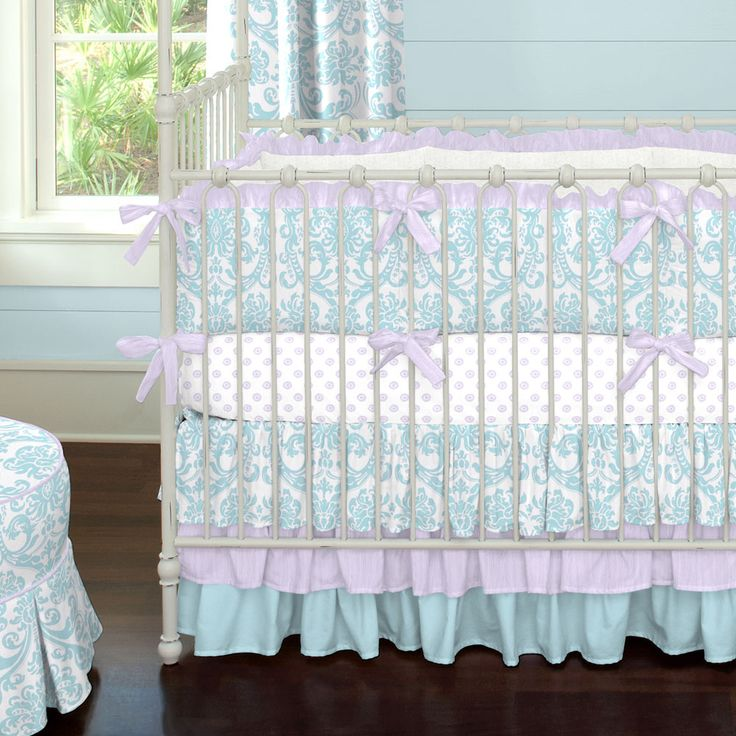 Aqua and Light Purple Damask Crib Bedding by Carousel Designs.  Our Aqua and Light Purple Damask collection is sure to be the hit of your nursery. Featuring our exclusive Mist Abigail Damask print and accented with Orchid Crushed Satin, this luxurious crib bedding collection is one of a kind. Our triple tier ruffled skirt adds the final touches to this incredible set.