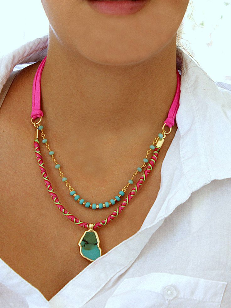 Tribal Necklace, Turquoise Slab Necklace, Layering Necklace, Rosary Necklace, Statement Necklace, Hot Pink