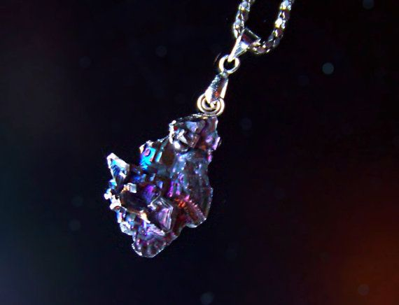 Iridescent Rainbow Bismuth Metal Crystal Pendant with a by deleas