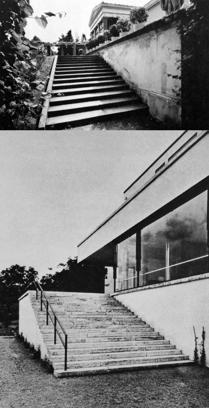 Mies van der Rohe clearly incorporated the lessons he learned from studying the oeuvre of Karl Friedrich Schinkel. In the work of Schinkel most of the buildings are not approached in a axial/frontal way but parallel to the main facade as can be seen in the staircase leading from the park up to the villa garden of the Charlottenhof Palace in Potsdam. This same principle is clearly visible in most of the projects of Mies van der Rohe such as the Tugendhat House in Brno in the Czech Republic.